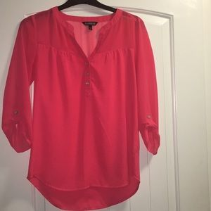 Express 3/4 sleeve pink blouse with button details